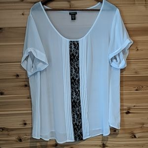 Torrid White Blouse with Black Lace Insert